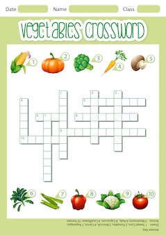 Vegetable crossword game template
