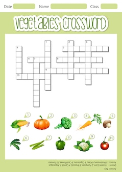 Шаблон листа овощного кроссворда