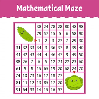Vegetable cucumber, cabbage. mathematical square maze.