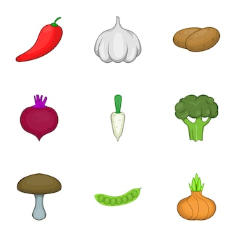 Vegetable culture set, cartoon style