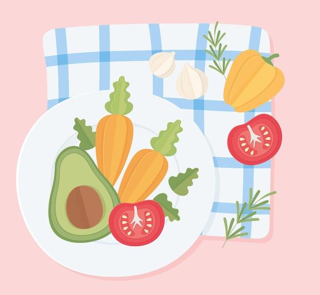 Vegetable on dish
