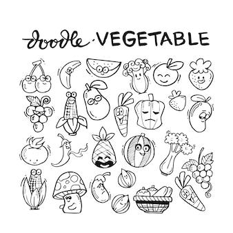 Vegetable doodle hand drawn set
