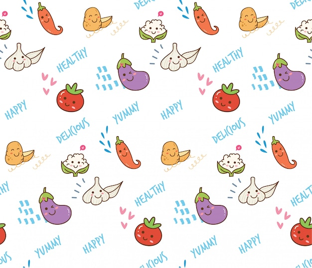 Vegetable doodle seamless background