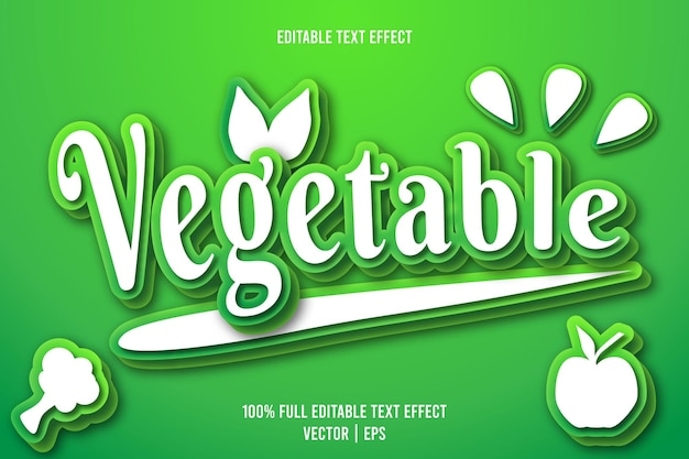 Vegetable editable text effect 3 dimension emboss cartoon style