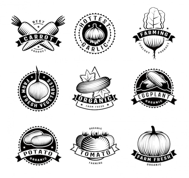 Vegetable emblems isolated set