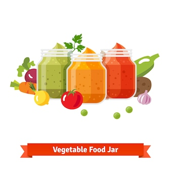 Vegetable food jars. baby puree