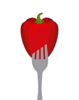 Vegetable in a fork