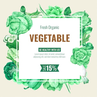 Vegetable frame background template for menu design and poster in watercolour
