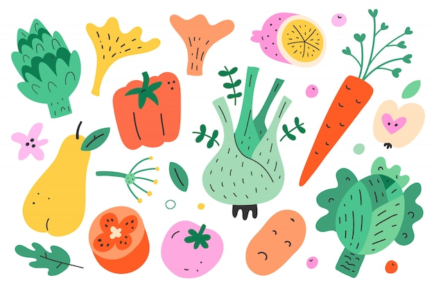 Vegetable and fruit collection, illustration