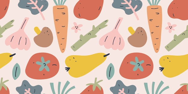 Vegetable and fruit illustration, seamless pattern