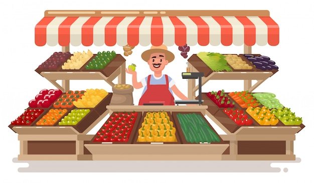 Vegetable fruit local shop. happy farmer  sells fresh natural products .  illustration in a  style.