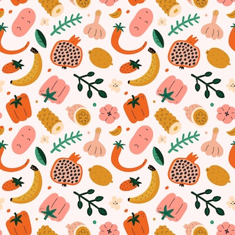 Vegetable and fruit pattern, seamless food
