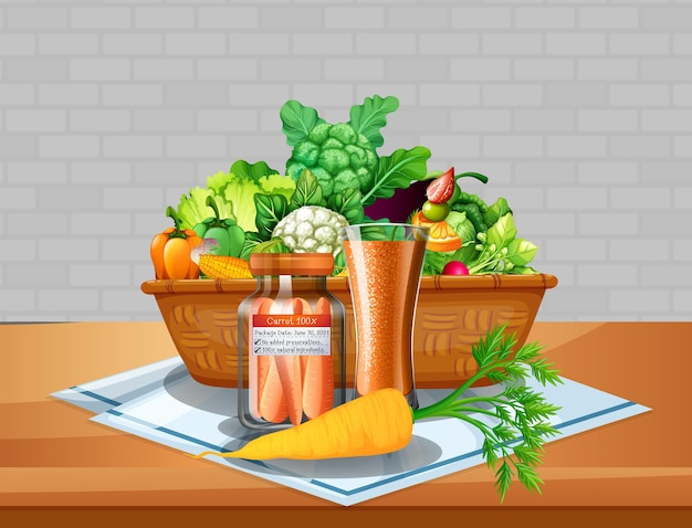 Vegetable and fruits in a basket on the table with brick wall background