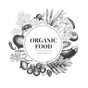 Vegetable hand drawn frame vector illustration
