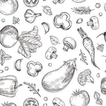Vegetable hand drawn seamless pattern. fresh vegetarian food, garden vegetables.