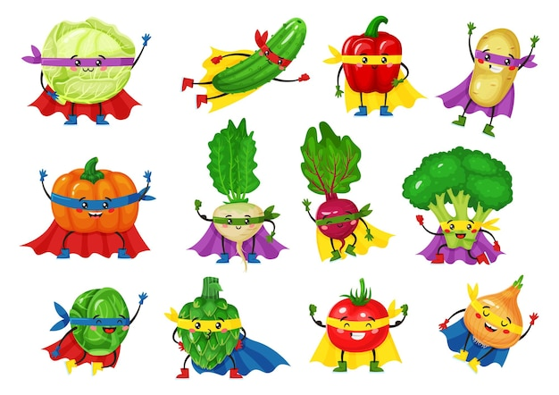 Овощные герои персонажей смешные помидоры, брокколи, огурцы в супергеройских накидках, талисман, векторный набор