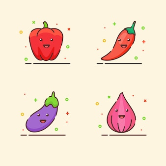 Vegetable icons set collection paprika chili eggplant onion cute mascot face emotion happy with color
