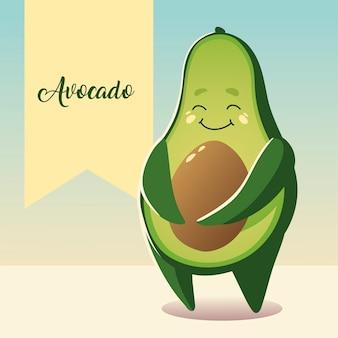 Овощной каваи мультфильм милый авокадо векторные иллюстрации
