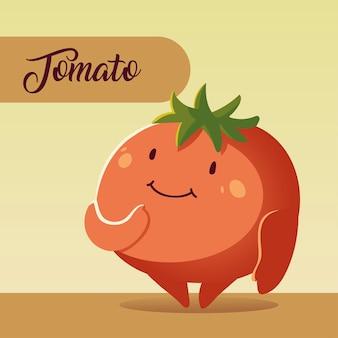 야채 카와이 만화 귀여운 토마토 벡터 일러스트 레이션