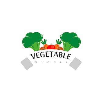 Vegetable logo, vegan label design