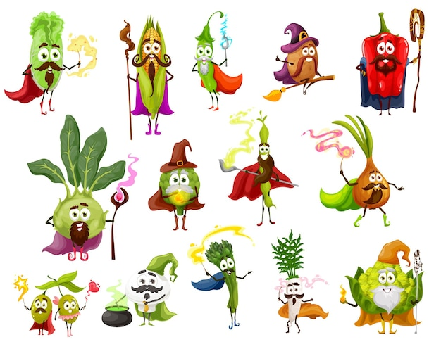 Vegetable magician, witch, wizard and fairy characters. pepper, onion, daikon and beans, olive, mushroom, asparagus and corn, chinese cabbage and romanesco cauliflower with magic wands