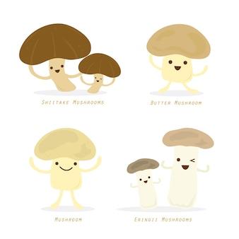 Vegetable mushroom cartoon cute set vector