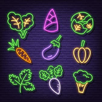 Vegetable neon icons