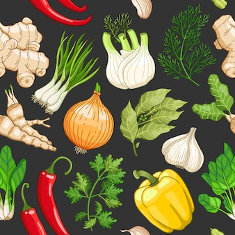 Vegetable pattern with herbs on dark