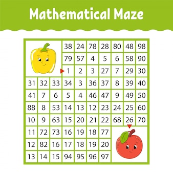 Vegetable pepper, fruit apple. mathematical square maze. game for kids. number labyrinth.