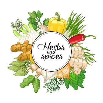 Овощной круглый дизайн со специями и зеленью. декоративная красочная композиция с шрифтовым дизайном