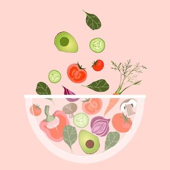野菜サラダボウル。ボウルに落ちる野菜。 webおよび印刷ポスターのトレンディなイラスト。サラダボウル。さまざまな健康野菜。トマトと混ぜた新鮮なアボカド。