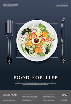Vegetable salad food, apple and bread poster design illustration