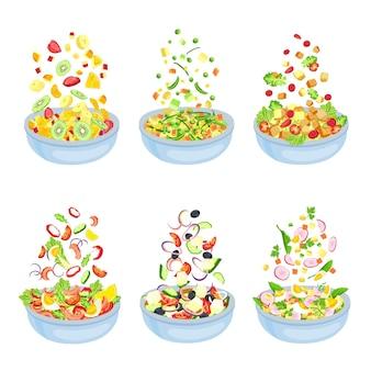 野菜サラダ。健康的なベジタリアン料理の爆発。フローティングフルーツのスライスとピース。サラダの葉、きゅうり、トマト、ベクターセットのボウル。果物や野菜のイラスト有機料理