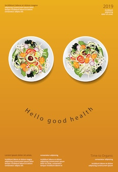 Vegetable salad organic food poster design template