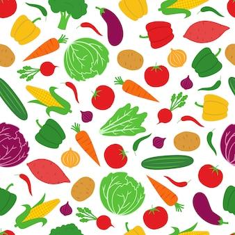 Vegetable seamless pattern background vector design