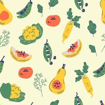 野菜のシームレスなパターン。健康的な栄養漫画のテクスチャ。トマト、大根、キャベツ、ディル、レタス、カボチャ、エンドウ豆。キッチンテキスタイル、ビーガン背景。手描き有機食品ベクトルイラスト。