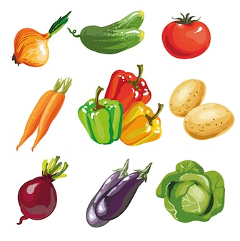 Vegetable set cartoon hand drawn collection.