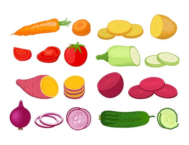 野菜セット。漫画のフラットスタイルの有機園芸植物 Premiumベクター