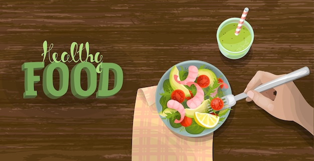 Vegetable and shrimp fresh salad bowl smoothie top view. fitness ration diet banner template. tomato, avocado, lettuce on wooden table background. lettering healthy food