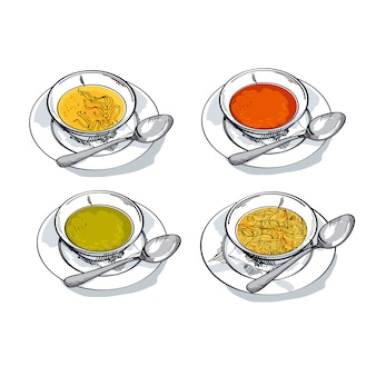 Vegetable soup sketch  illustration. traditional meal bowl assorted