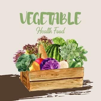 야채 수채화 물감 페인트 컬렉션입니다. 신선한 음식 유기 장식 건강 광고 그림