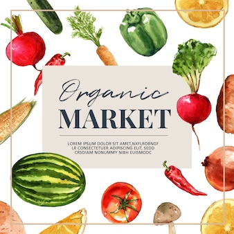 Vegetable watercolor paint collection. fresh food organic decor healthy ad illustration