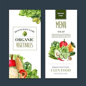 야채 수채화 물감 페인트 컬렉션입니다. 신선한 음식 유기농 메뉴 건강 일러스트