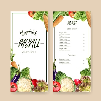 Vegetable watercolor paint collection. fresh food organic menu healthy illustration