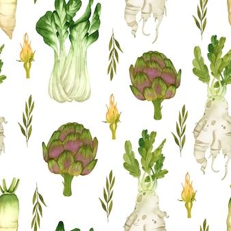 흰색 바탕에 야채 수채화 원활한 패턴 아티 초크 양상추
