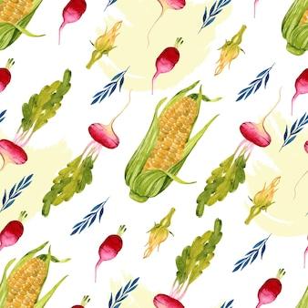 Vegetable watercolor seamless pattern corn radish