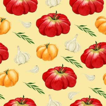 노란색 배경에 야채 수채화 원활한 패턴 토마토 마늘 로즈마리