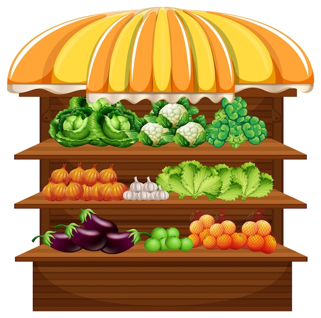 Vegetable on wooden shelf