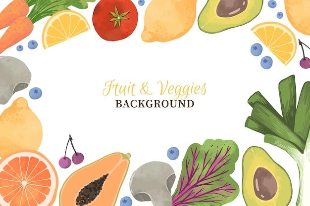 Овощи и фрукты дизайн фона