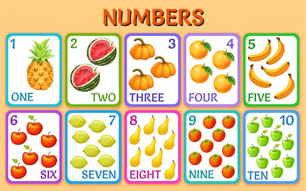 Овощи и фрукты. номера детских карточек.
